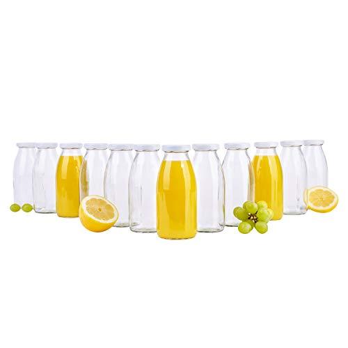 MamboCat 12er Set Saftflaschen 250 ml + Twist-Off Deckel TO43 weiß I bauchige Glasform I Glasflasche zum Befüllen I Karaffe I Milchflasche I Deko-Vase I Trinkflasche I Schüttdosen - Mit Flasche Deckel Twist Milch