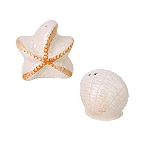 cofco Seestern + Shell Keramik Salz mit Pfefferstreuer Kanister Set Hochzeit Partyzubehör (Shell-salz-und Pfefferstreuer)
