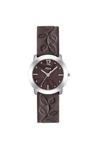s.Oliver Damen-Armbanduhr Analog Quarz, Lederarmband, 29 mm