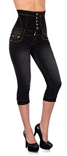 by-tex Damen Jeans Capri Hose Skinny Damen Capri High Waist Jeans Hose Hochbund J350 (Capris Denim)