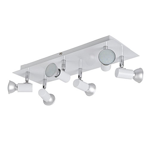 MiniSun - Moderno plafón para el techo con 6 focos en cromo pulido plateado y blanco brillante – base rectangular, GU10