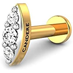 Candere By Kalyan Jewellers 18K (750) Yellow Gold and Diamond Scarlett Nose Pin