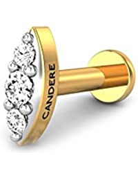 Candere By Kalyan Jewellers 18K (750) Yellow Gold and Diamond Scarlett Nose Pin for Women