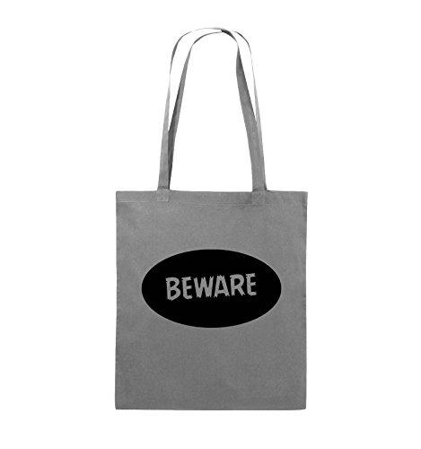 Comedy Bags - Beware - Jutebeutel - lange Henkel - 38x42cm - Farbe: Schwarz / Pink Dunkelgrau / Schwarz