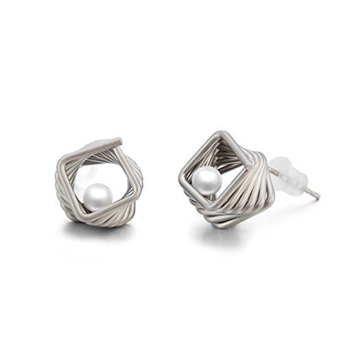 Orecchini per donne forma di spirale di nido d'uccello - Placcato argento - Naturale perla d'acqua dolce