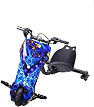 Limodo 3-wheel Electric Drift Scooter Gold/Blue 36V with Helmet Pad set, Knee and Elbow Pads 36V, E400