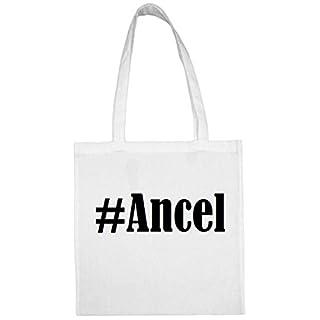 Tasche#Ancel Größe 38x42 Farbe Weiss Druck Schwarz