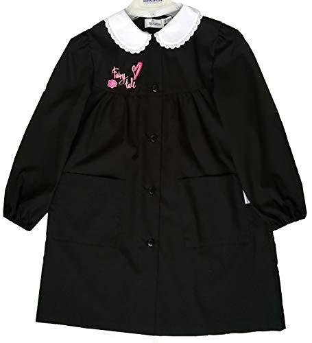 Siggi grembiule scuola femmina nero con bottoni e ricamo (8 anni - cm 128)