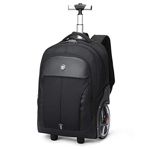 AUNLPB Laptop-Rucksack, Wheeled Rolling Travel Trolley Rucksack, Rucksack für Frauen/Männer wasserdichte Schultasche, passt 18-20 Zoll Laptop,Black,L