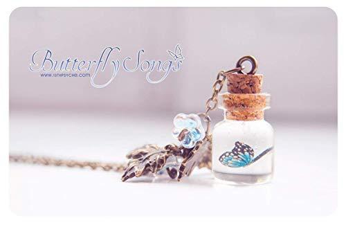 las Flasche Halskette. Glas Vial Halskette Nette Halskette Schmetterling Halskette Miniatur Flasche Charme Halskette, Schmetterling Flasche ()