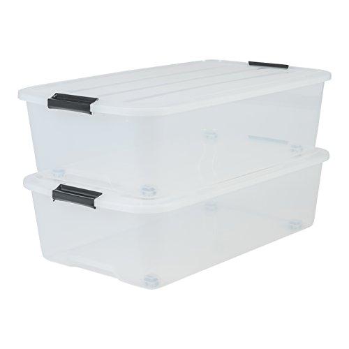 IRIS 135462, 2er-Set Unterbettboxen / Rollerboxen / Aufbewahrungsboxen \'Top Box Under Bed Box\', TBU-40, mit 4 Rollen, Plastik, transparent, 40 L, 68 x 38,8 x 18,5 cm