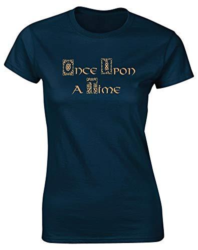 Hippowarehouse Upon A Time Damen Fitted Short Sleeve T-Shirt (bestimmte Größenangaben in der Beschreibung) Gr. Medium, Marineblau -