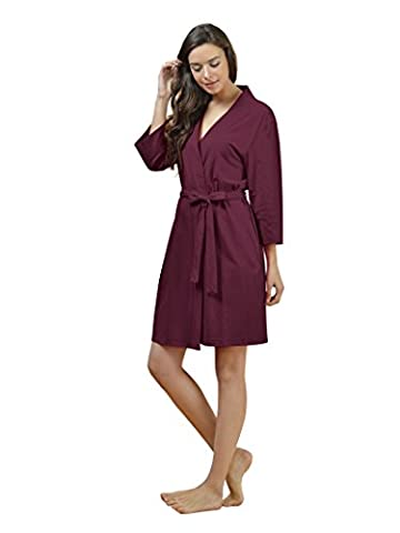 SIORO Women's Kimono Robe Cotton Soft Lightweight Robes Short Knit Bathrobe Loungewear V-Neck Sexy Sleepwear Ladies Nightshirts Burgundy S