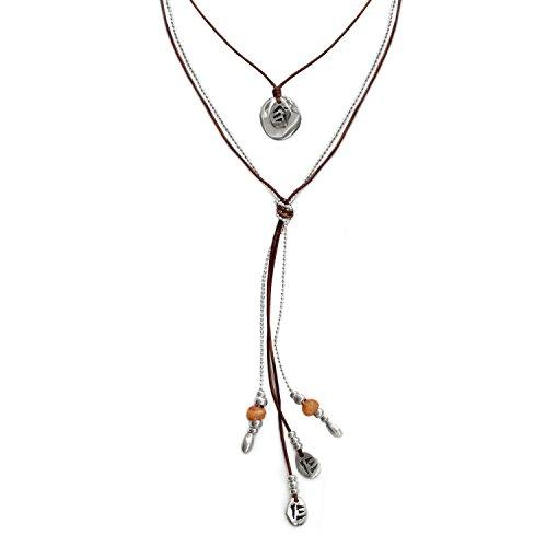 Beau Soleil Jewelry Schmuck Set 2 Damen-Halsketten Lederkette Lassokette mit Münzen im Ibiza Style und Kugelkette Lederschmuck Damenkette (Orange)