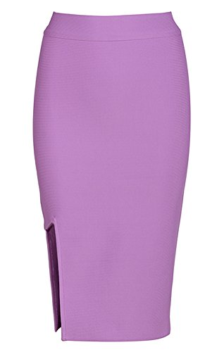 Kimring Women's Split Knee Length Stretchy Bodycon Bandage Office Pencil Skirt Light-Purple