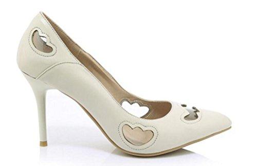 OL pompe cavalcate di cuoio del partito di cuoio scarpin antiscivolo tacco alto peep toe donne facile match scarpe casual scarpe limitate UE taglia 34-39 meters white