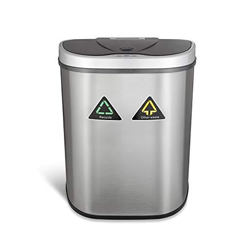 Sensor Mülleimer 70 Liter 100% Edelstahl Automatik Abfalleimer Push Kücheneimer mit Mülltrennung 2 Fächer