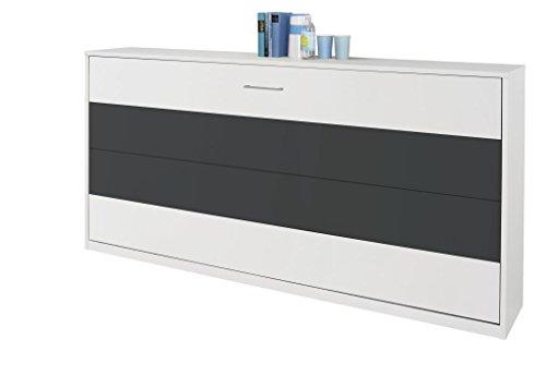 Querklappbett alpinweiß/grau-metallic Klappbett Querklappbett Schrankbett 90x200 NEU