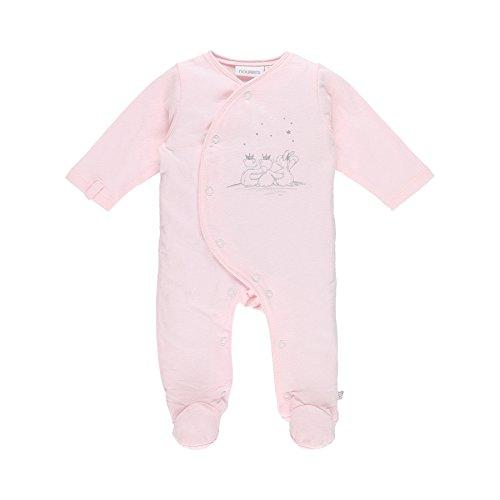 Noukie's Baby-Mädchen Schlafstrampler Pyjama 1PCS Jersey Cocon, Weiss / Pink, 3-6 Monate (Hersteller Größen: 6M) (Pyjama-3 Monate)