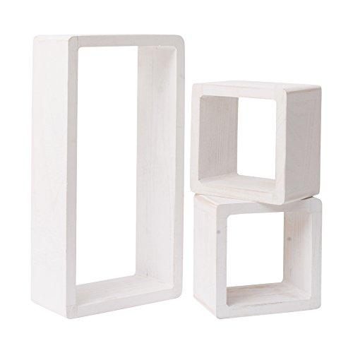 Mobili rebecca® set 3 mensole scaffali pensili 1 rettangolo 2 cubi legno bianco shabby design retro camera soggiorno (cod. re4119)