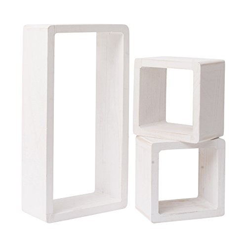 Rebecca Srl Estantes flotantes 3 set 2 cubos 1 rectangular estanterías de pared madera pintada blanca efecto shabby cubo cosas pequeñas (Cod. 0-1217)