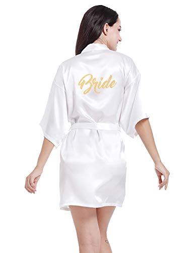 VENI MASEE Damen Bride Morgenmantel Pure Farbe Weiche Bride Kimono Hochzeitsfeier 2 Stil zu Wählen(S-2XL) -