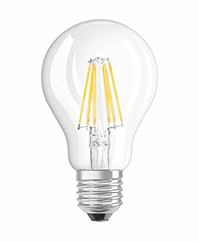 NEOLUX 4052899968684 Clear Warm Filament Style Classic Bulb Shape LED Lamp with Screw Base, Glass/Plastic, White, E27, 4 W, 2700