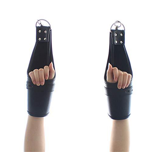 Kamiwwso Porta appesa Rilegatura Vincoli Accessori esotici Sexy Manette in Cuoio Regolabili (Color : Black)