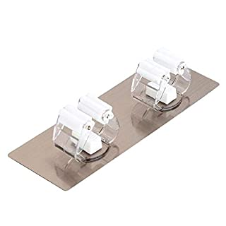 Broom Mop Holder 2 Positions Broom Gripper Holds Self Adhesive Reusable No Drilling Wall Mounted Storage Rack Storage Organization for Home Kitchen and Wardrobe White 1PC