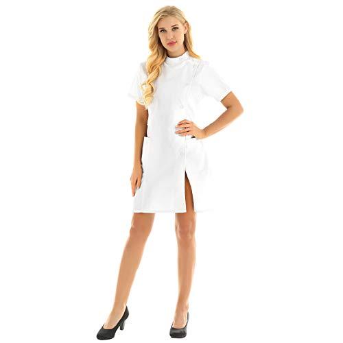 inhzoy Medizinische Uniformen Frauen Krankenschwester-Kleid Medizinische Arbeit Labor Kittel Arbeitskleidung Pflegerin Kostüm Cosplay Weiss - Kostüm Arbeit