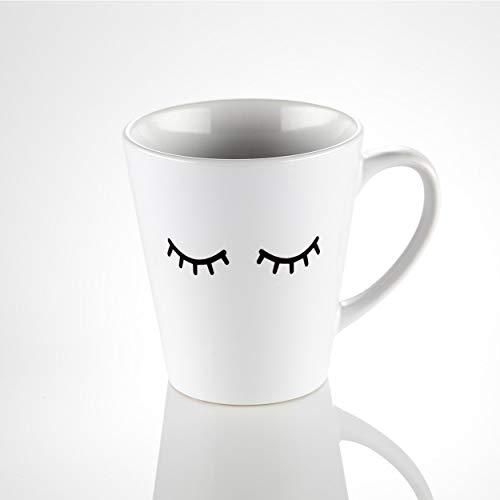Keramiktasse in der Farbe weiß mit dem Aufdruck