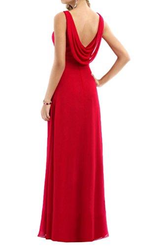 Milano Bride Damen Kleider V-Ausschnitt Lang Chiffon Abendkleider  Promlleider Brautjungferinkleider Faltenwurf Violett