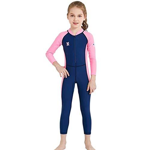 QIAOXINGXING Sommer Neuer Kinder-Tauchanzug im Freien langärmeliger, einteiliger Badeanzug Sonnenschutz schnell trocknender Kinder Badeanzug (Farbe : Female Models Dark Blue, größe : M)