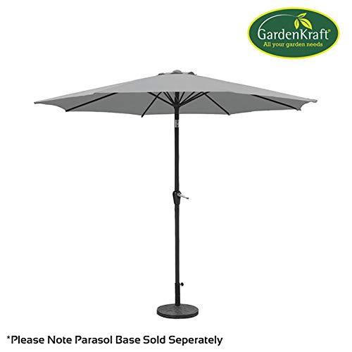 Garden Kraft 147302.7m 6Rib Manivelle Parasol et d'inclinaison-Gris Clair