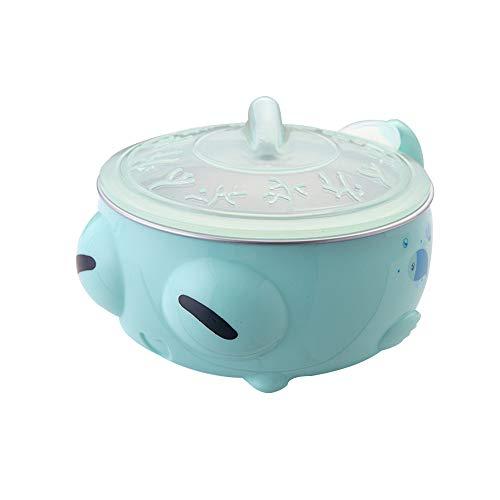 Homeng Bol de Conservation de la Chaleur par Injection d'eau, Couverts pour bébé, Bol en Acier Inoxydable, Bol à Ventouse pour préserver la Chaleur, Acier Inoxydable, Vert, 15x12x8cm
