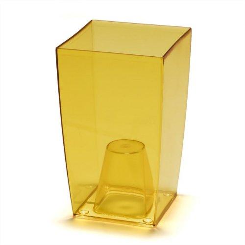 Prosperplast Coubi Tower Blumentopf/Vase, transparent, Plastik, Transparent Orange, 12x12x20 cm