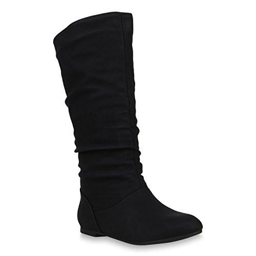 Damen Schlupfstiefel Warm Gefütterte Stiefel Leder-Optik Schuhe 153344 Schwarz Carlet 39 | Flandell® (Schwarz Leder Stiefel)