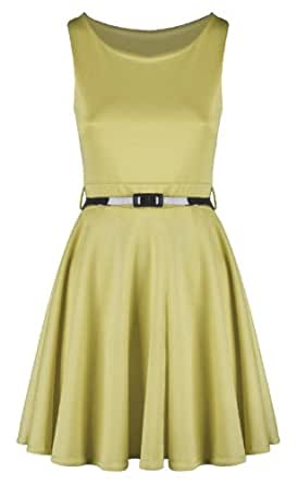Swagg Fashions Women's Skater Dress S/M 8-10 Lemon Yellow
