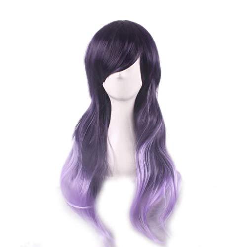 (LYX1,Perücke Haarteile Haarteile Frauen Farbverlauf lila Lange lockige Haar Mischung Farbe synthetische Rollenspiele Party)