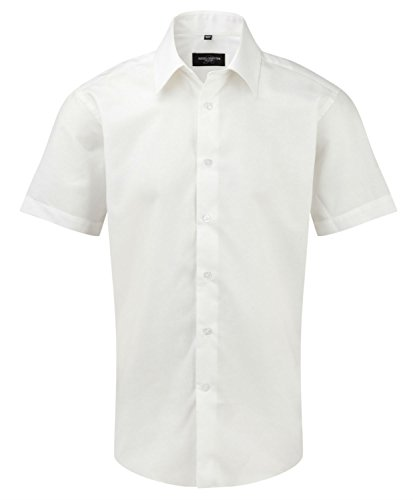 Womens 3/4 Sleeve Poplin Shirt (Russell Collection Herren Freizeit-Hemd Weiß weiß)