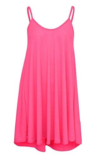 Nuovo donna, taglie neon &, a strisce spiaggia articolo Estate Swing abito 8-22-Canottiera Rosa fluo