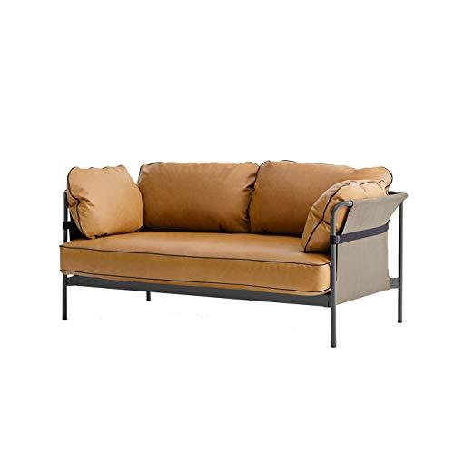 HAY Can 2-Sitzer Sofa Gestell Charcoal, Cognac Leder Silk 250 172.4x82x89.5cm Außenstoff Canvas grau