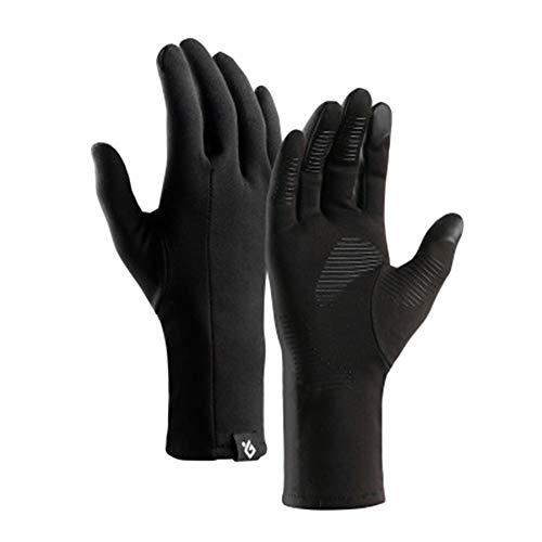 PengGengA Rutschfest Leichte Sporthandschuhe Laufhandschuhe Running Handschuhe Nordic Walking Für Damen Und Herren Mit Touchscreen-Funktion Schwarz L