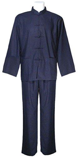Tai Chi abbigliamento blu cotone e lino per l'uomo, uniforme