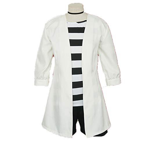 YKJ Anime Cosplay kostüm Cosplay kostüm weiblichen Anime weiße Jacke schwarz und weiß gestreiften Hemd uniform Tasche Cosplay Requisiten,Full - Jacke Weibliche Kostüm