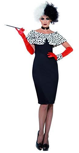 erdbeerclown - Damen Frauen Kostüm , böse Madame Kleid mit Dalmatiner Kragen Handschuhen und Halsband, perfekt für Halloween Karneval und Fasching, XL, Schwarz (Für Dalmatiner-kostüm Frauen)