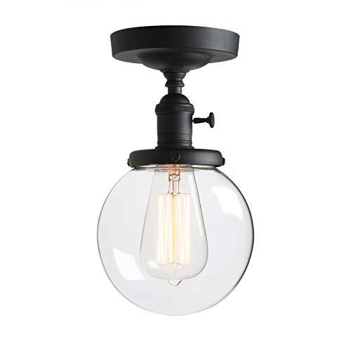 Phansthy Kugel Klarglas Modernes Landstil Pendelleuchte Hängeleuchte Vintage Hängelampen Hängeleuchte Pendelleuchten Loft-Pendelleuchte (Schwarz Farbe)