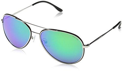 Police Herren S8299 Glory Aviator Sonnenbrille, GREEN FRAME / GREEN MIRROR LENS