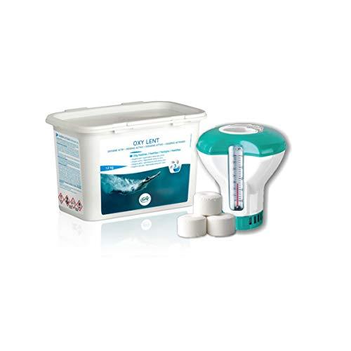 Oxygène Actif GRE en pastilles de 20 g - Oxi Lent kg.1,2 + Doseur Flottant C/Thermomètre. Idéal pour Piscine et Spa Jacuzzi. Expédition immédiate