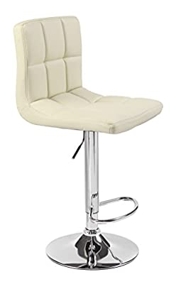 Cuban Faux Leather Breakfast Kitchen Bar Stools (Cream) - low-cost UK light shop.